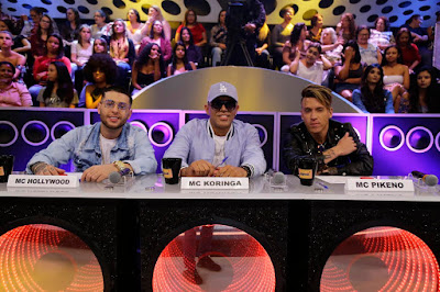 MC Hollywood, MC Koringa e MC Pikeno no quadro Funkeirinhos (Foto: Rodrigo Belentani/SBT)