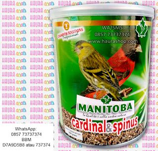 Manitoba merupakan produsen pakan burung yang sudah teruji dan banyak digunakan sebagai pakan burung yang telah banyak memenangkan berbagai ajang Internasional Bird Show di berbagai negara Eropa: Italy, Portugal dan Turki. Jadi jika yang Anda cari adalah pakan burung fich yang berkualitas tapi harga terjangkau maka Manitoba Cardinal & Spinus adalah pi;ihan terbaik.