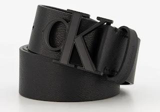 Мъжки кожен черен Kолан с лого - Calvin Klein