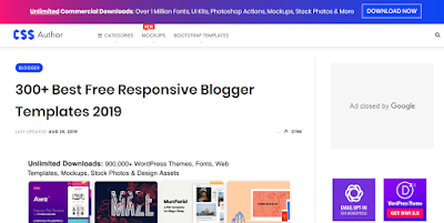 CSSauthor have 300+ Best Free Responsive Blogger Templates 2019.