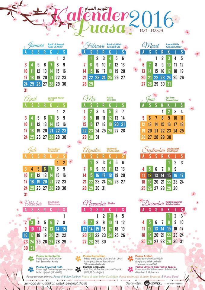 jadual dan tarikh Puasa Sunat Dan Wajib 2016