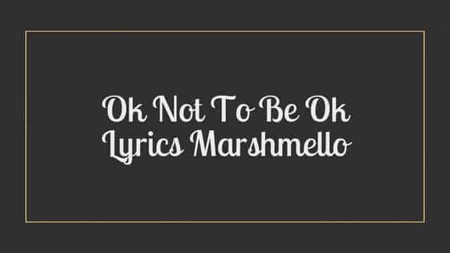 Ok Not To Be Ok Lyrics Marshmello