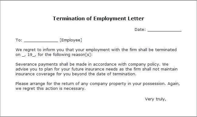 Sample Termination Letter Without Cause