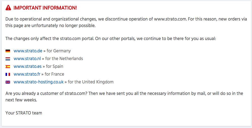 Strato.com đóng cửa, nên transfer tên miền ngay