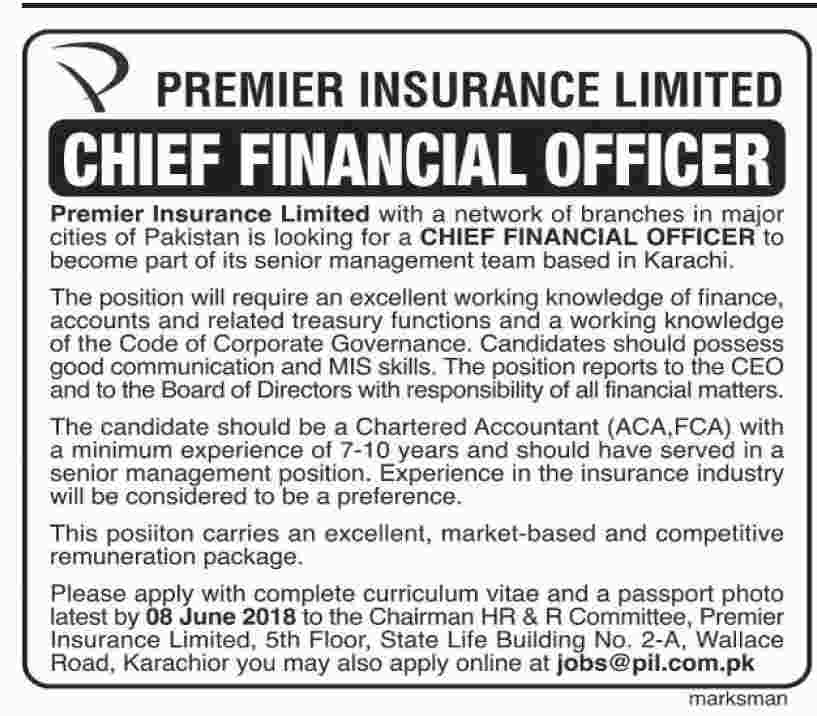 Jobs in Premier Insurance Limited Company June 2018