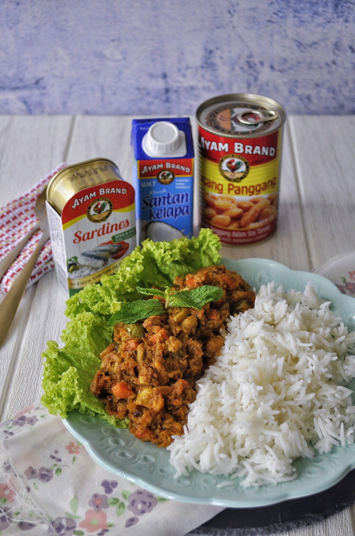 Baked Beans Sardine Curry with Rice