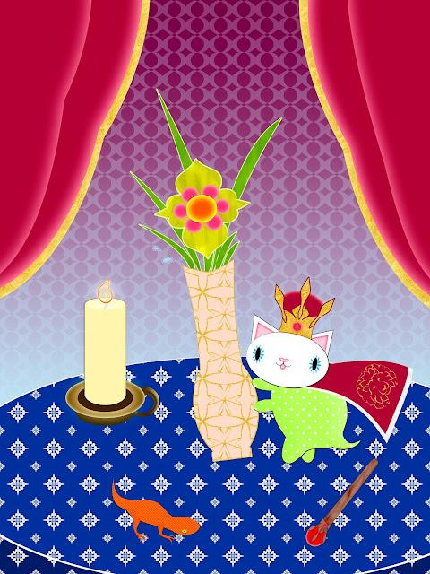 Kitten as king of Wands knocking over vase illustration by ssStephG