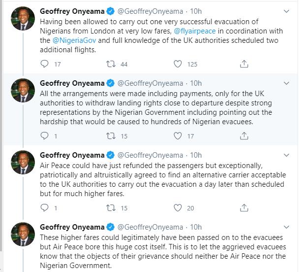 UK denies Air Peace landing rights to evacuate stranded Nigerians