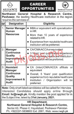 Latest Northwest General Hospital and Research Centre Management Posts 2021