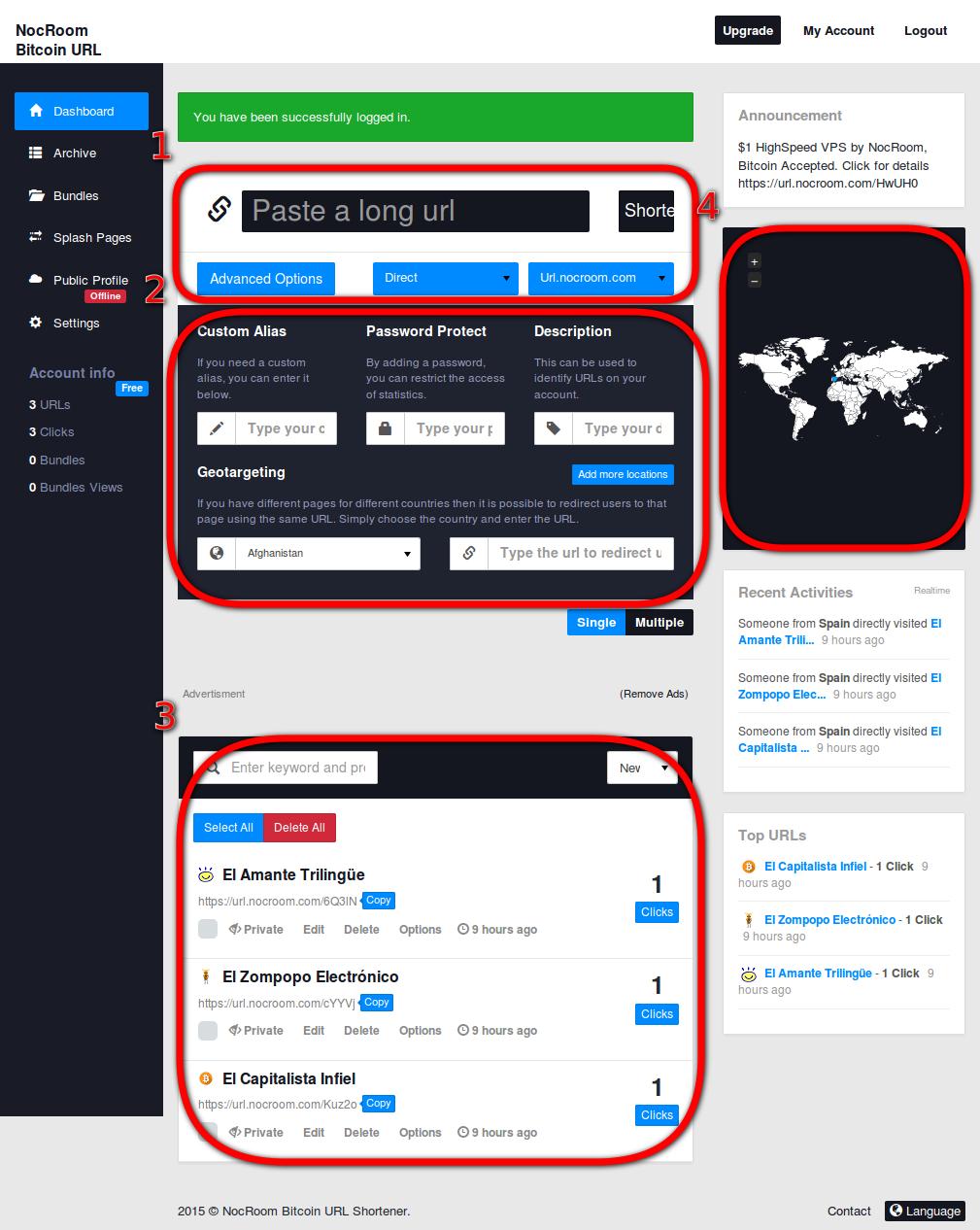 NocRoom - Gana Bitcoins por acortar enlaces - El Capitalista Infiel