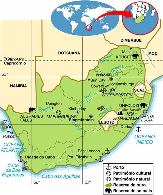 África do Sul | Aspectos Geográficos e Socioeconômicos da África do Sul