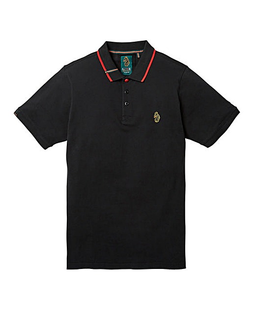 Luke Sports Mead Pique Polo Shirt in Jet Black from Jacamo