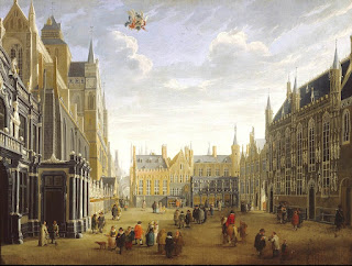 The Burg in Bruges by Flemish painter Jan Baptist van Meunincxhove, depits Bruges of Flanders in 17th Century, c.1691-1700