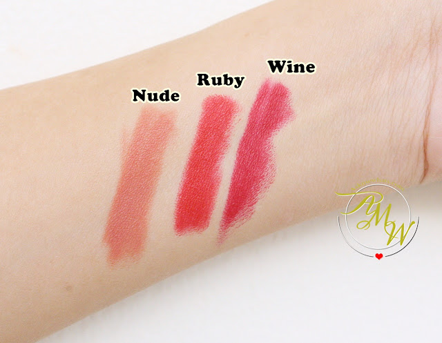 a swatch photo of Celeteque Matte Lipsticks  in shades nude, ruby and wine