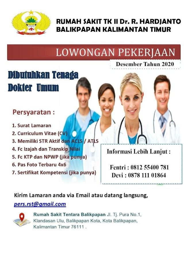 Loker Dokter Rumah Sakit TK II Dr. R. HARDJANTO Balikpapan, Kalimantan Timur