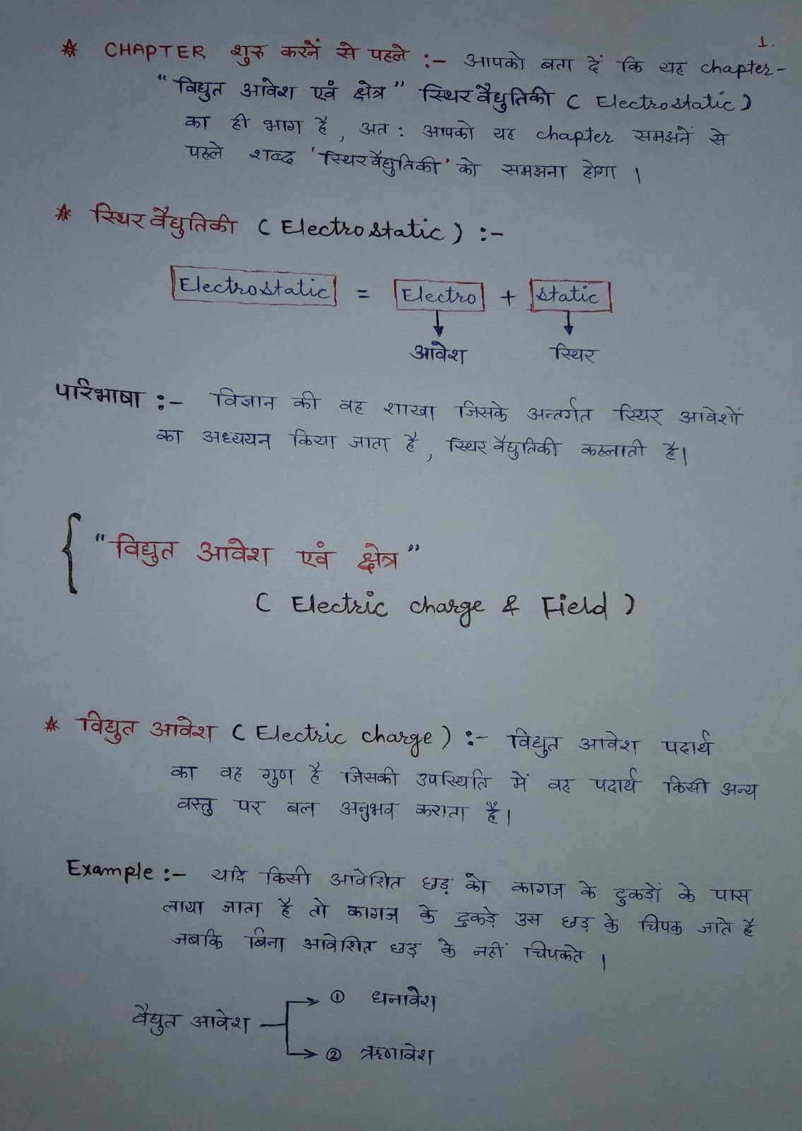 what is electrostatic in hindi