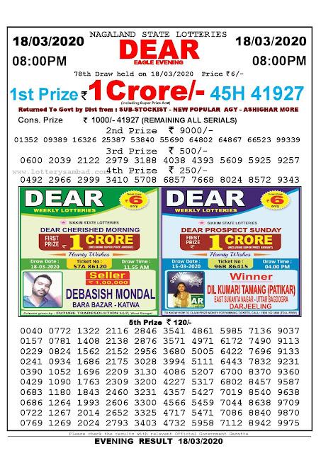 Nagaland State Lotteries 18-03-2020 Lottery Sambad Result 8:00 PM