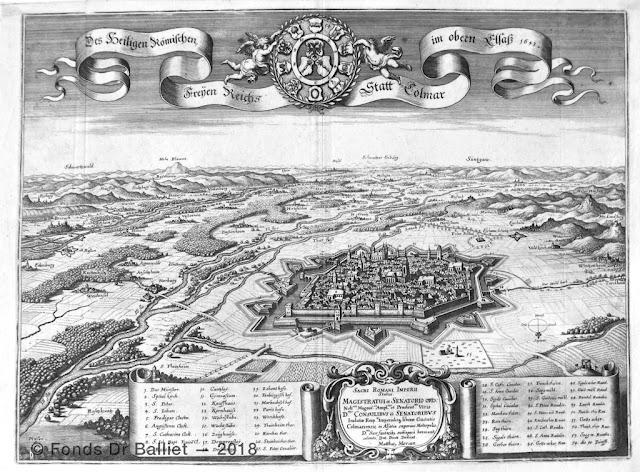 Des Heiligen Rœmischen Freyen Reichs Statt Colmar im Obern Elsass 1643 (Merian, Matthäus (1593-1650). In :  « Topographia Alsatia », Hoffmann W, Francfort, 1644)