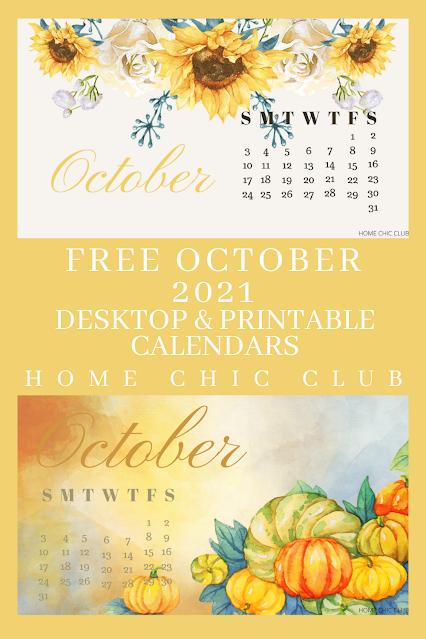 Free October 2021 Calendars