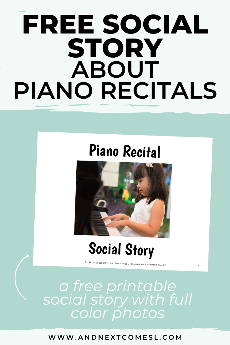 Free printable social story for kids with autism about piano recitals