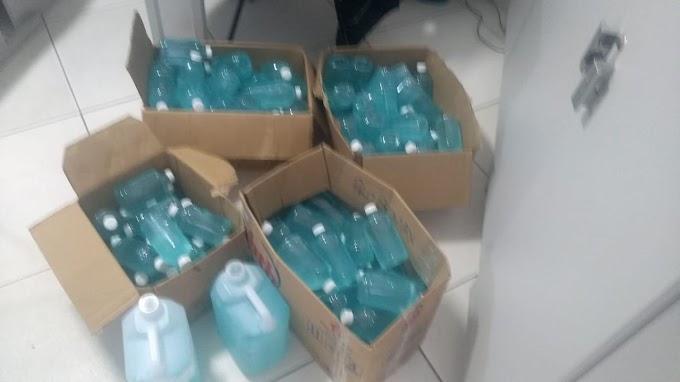Jacobina: Vigilância Sanitária apreende álcool em gel falsificado