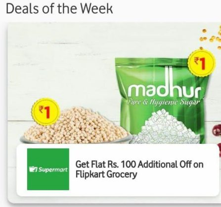 Vodafone App Offer: Get Rs.100 Flipkart Grocery Coupon For Free