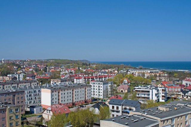Rozewie, Latarnia morska, widok na panoramę miasta i okolicy