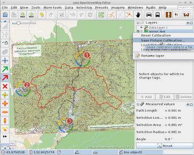 Карта в JOSM (Java OpenStreetMap) с 3-мя точками привязки созданными при помощи PicLayer