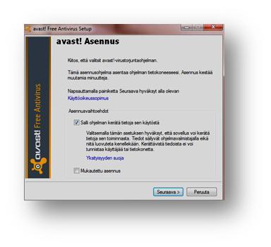 Ohjeet Avast -virusohjelman asentamiseen
