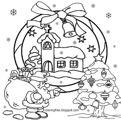 Beautiful drawing of Christmas tree and Santa Claus coloring pages for teenagers printable clipart