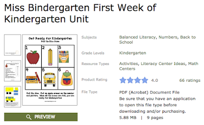 Miss Bindergarten Unit on TPT