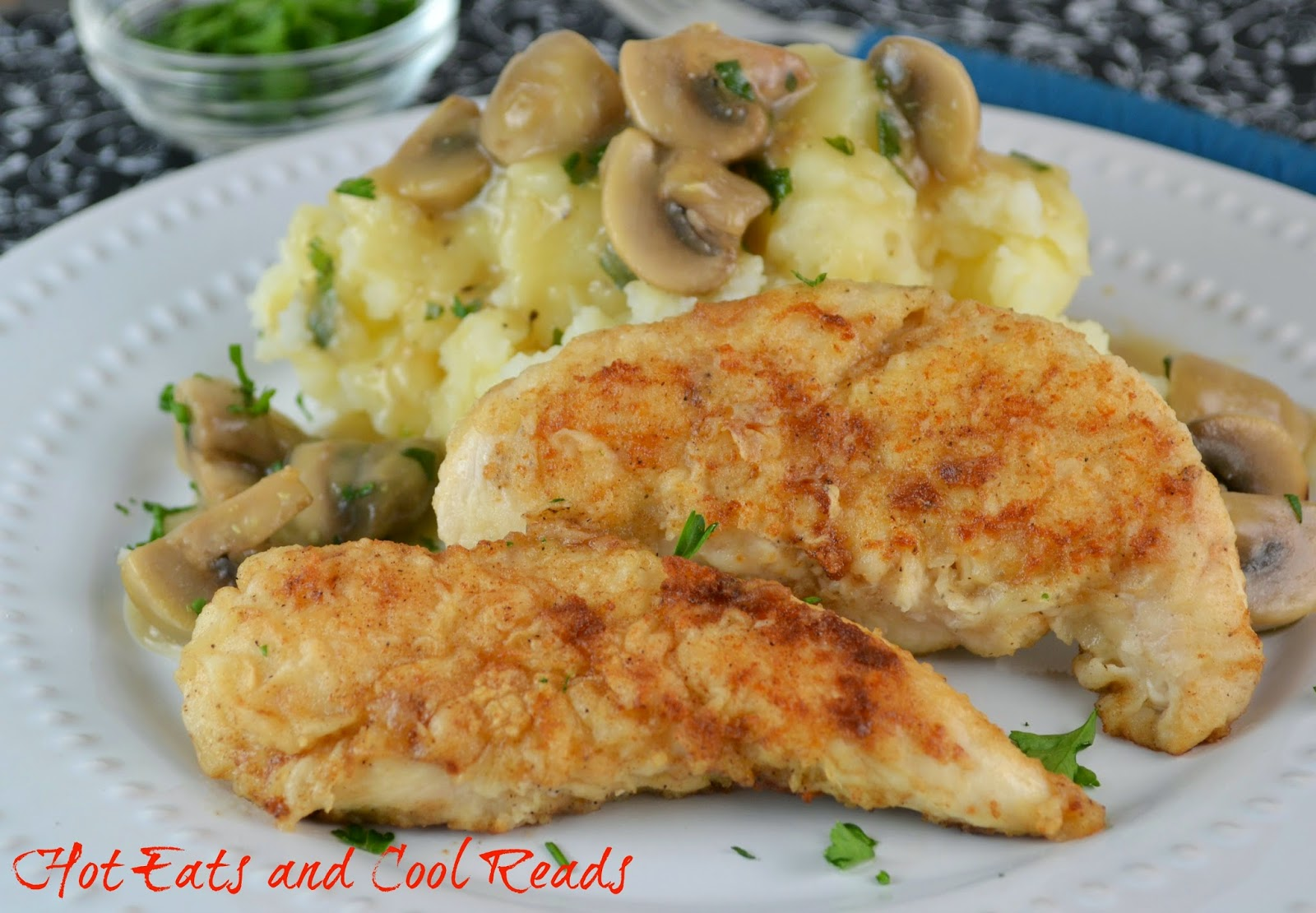 A delicious meat and potatoes dinner the whole family will enjoy! Pan Fried Chicken Tenderloins with Mushroom Gravy from Hot Eats and Cool Reads!