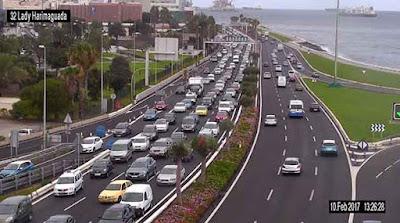 Grandes retenciones avenida Marítima por cierre túnel San José