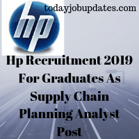 Hp Recruitment 2019 For Graduates As Supply Chain Planning Analyst Post