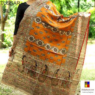 Madhubani on ghicha tussar silk dupatta at Shilphaat.com