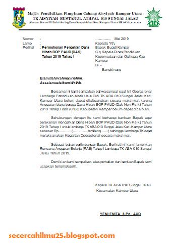 Contoh Format Permohonan Pencairan Dana BOP PAUD Tahun 2019