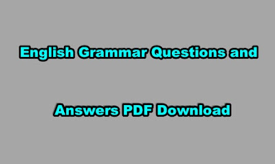 English Grammar Questions and Answers PDF Download.