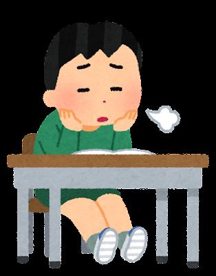 やる気のない小学生のイラスト(男子)