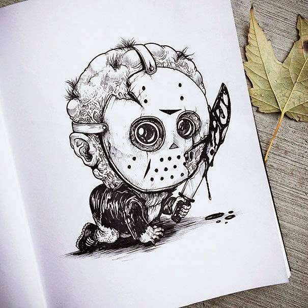 07-Jason-Alex-Solis-Baby-Terrors-Drawings-Horror-Movie-Villains-www-designstack-co