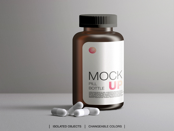 Mockup Brown Plastic Medical Pill Bottle Packaging Medicine Container