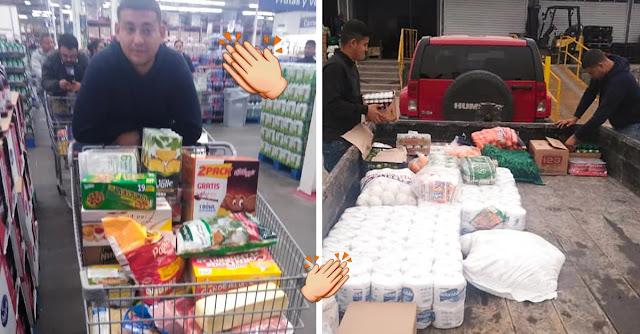 Joven empresario regala despensas a sus trabajadores para pasar la cuarentena