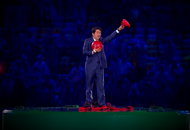 Shinzō Abe Mario hat clothes Cappy Rio 2016 closing ceremony Olympics warp pipe