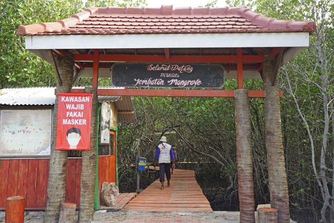Gerbang Jembatan Merah Hutan Mangrove Pasarbanggi Rembang