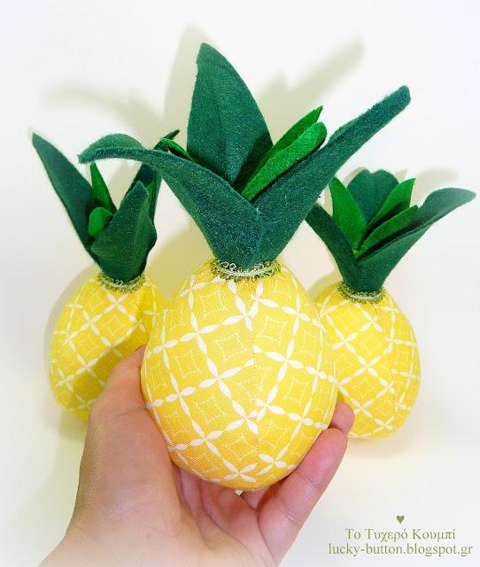 """Tropical Pineapple"" Υφασμάτινος ανανάς, Μπομπονιέρα, διακοσμητικό, στολισμός βάπτισης - γάμου, centerpiece"