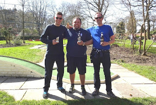 The top-three players at the Great Northern Minigolf Open (from l-r) Richard Gottfried (2nd), Scott Lancley (1st) and Russ Dent (3rd)