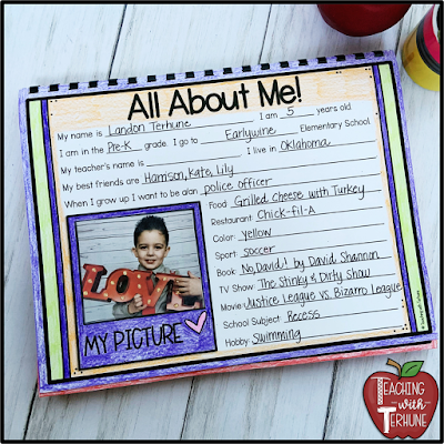 All About Me Student Page