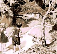 Hansel y Gretel solos en el bosque