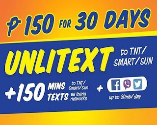 TNT U150 – 30 Days Unlitext, 150 Minutes Call + 30MB/day Data