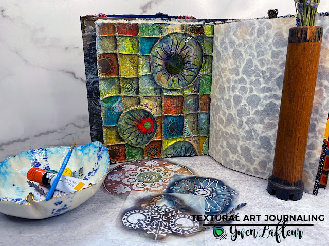 Textural Art Journaling with Stencils - Tutorial by Gwen Lafleur