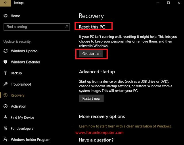 2 Cara Reset Ulang Ke Pengaturan Awal Windows 10 Di PC Dan Laptop